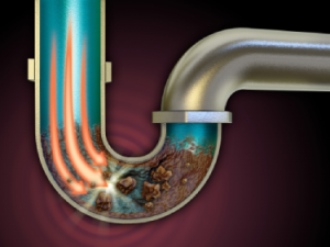 graphic of inside a clogged pipe